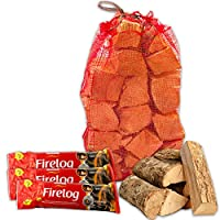 Calor Instant Lighting Smokeless Firelogs Burn for up to 2 Hours with High Quality Kiln Dried Ash Wooden Logs & Tigerbox Safety Matches
