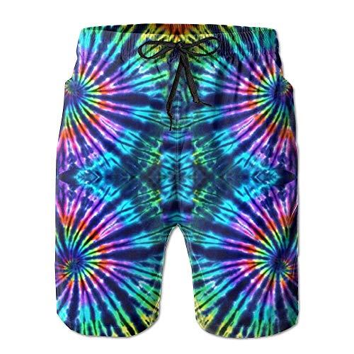 Zengyan Tie Dye Perfection Herren Badehose bunt Bedruckt Hawaiian Beach Shorts Gr. Medium, 562 - Tropische Scrub