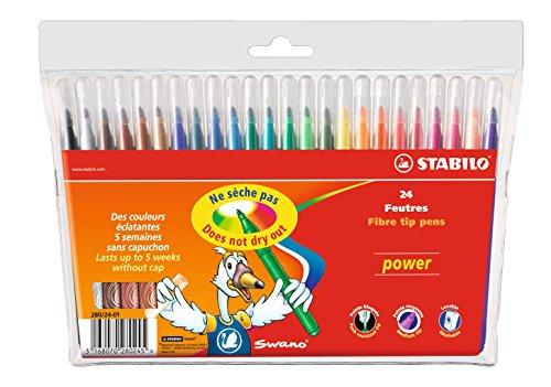 Feutre de coloriage - STABILO power - Étui carton de 24 feutres pointe moyenne - Coloris assortis