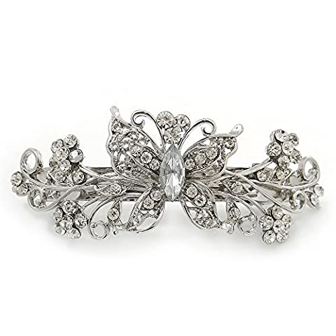 Bridal Wedding Prom Silver Tone Filigree Diamante 'Butterfly' Barrette Hair Clip Grip - 90mm Across