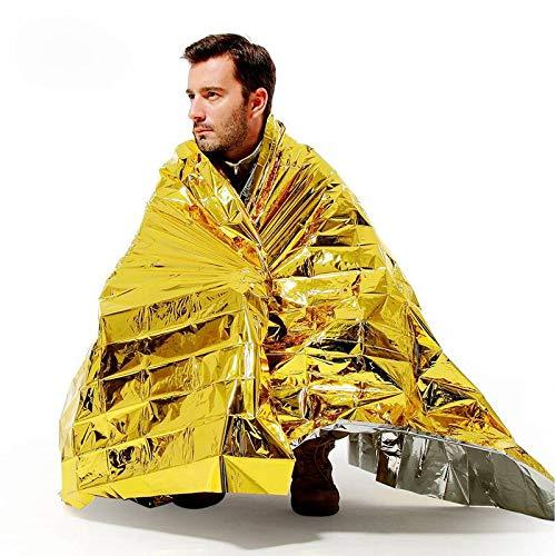 RAINBOW.M Outdoor Wandern Wasserdichte Thermo-Notfalldecke Survival Rettungsdämmung Decke Silber/Gold, Gold