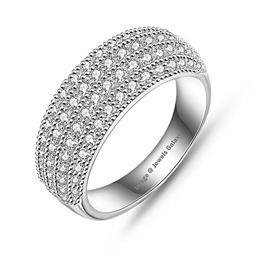 Jewels Galaxy White Platinum Plated Aaa Zircon Eternity Rings (7) For Women/Girls