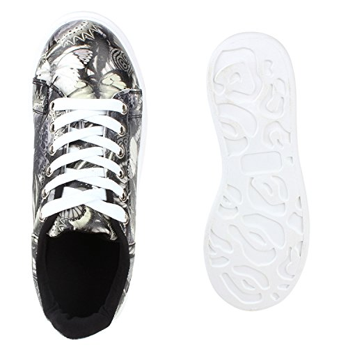 Damen Sneakers Low Bunte Prints Plateau Turnschuhe Freizeit Schwarz