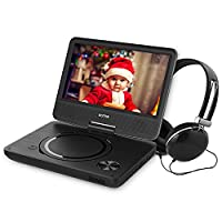 WONNIE 9.5�?� Portable DVD Player with 270° Swivel Screen, Best Gift for Kids, Support USB/SD Slot, Direct Play in Formats AVI/MP3/JPEG/RMVB (9.5, Black)