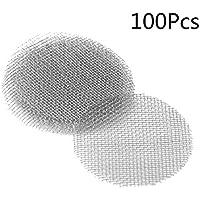 KANGIRU Pantallas de Pipa de Fumar Filtros de Pantalla de Fumar de Acero Inoxidable (100 Piezas) Plata