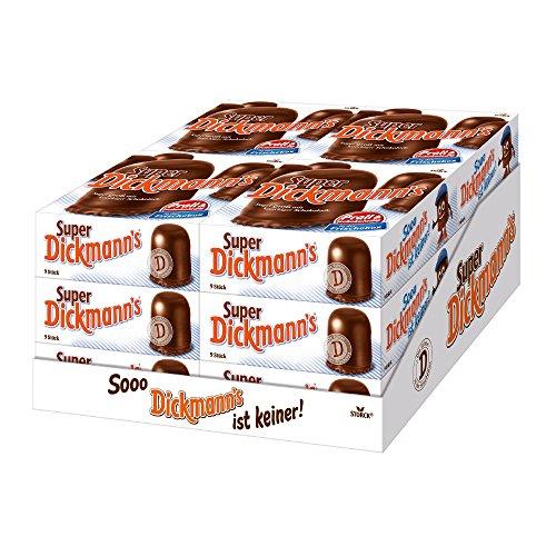 Super Dickmann's – Supergroße, schokoladige Schaumküsse mit Waffel – Die Süßigkeit für jede Party – (12 x 9er Packung)