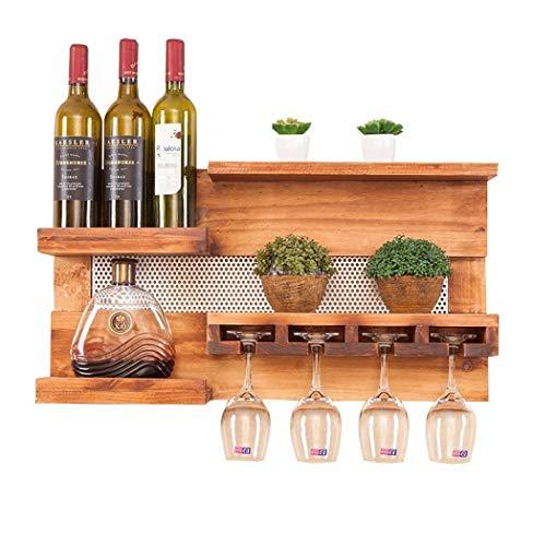 DUDDP Weinflaschenhalter Weinregal Wandhalter Holz LOFT Wandregal Lagerregal Wand Weinflaschenhalter Hängende Weinglashalter Weinschrank Vintage Industrial Style -