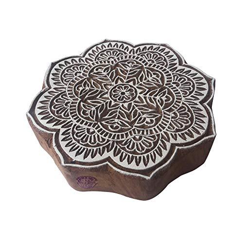 Royal Kraft 8 Inch Traditionell Holzblöcke Groß Runden Blumen Entwürfe Großer Drucken Stempel - Holz Ton Block