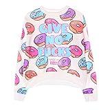 Jiayiqi Lustige Buchstaben Crop Tops Niedlichen Donut Drucken Mädchen Sweatshirt Pullover