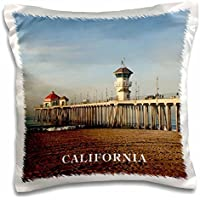Florene America The Beautiful - Pier At Huntington Beach California - 16x16 inch Pillow Case