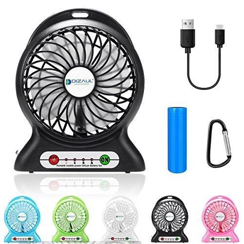 Tragbar Fan, dizaul Mini USB aufladbare Fan mit 2600mAh Power Bank und Blitzlicht, für Reisen, Angeln, Camping, Wandern, Rucksackreisen, BBQ, Baby Buggy, Picknick, Radfahren, Bootsfahrten schwarz - Dc Brushless Fan Motor