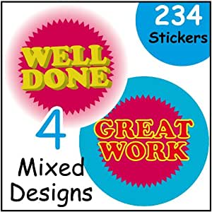 234 Praise Reward Stickers. Great Work, Keep it up, Well Done
