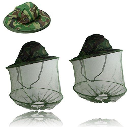 2pcs Outdoor Mask sombrero con cabeza de Mosquito snet Mosquitera UV polvo protector solar Sombrero Para Senderismo Pesca camping Jinete y escalada