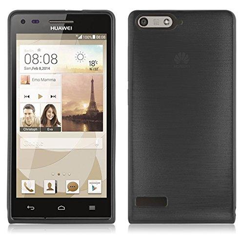 Cadorabo DE-105022 Huawei Ascend P7 Mini Handyhülle aus TPU Silikon in gebürsteter Edelstahloptik (Brushed) Schwarz