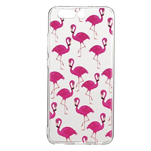 COZY HUT Cover Huawei P10 Plus, Antiscivolo, AntiGraffio, Antiurto Morbida TPU Silicone Ultra Sottile AntiGraffio Antiurto Custodia per Huawei P10 Plus - Carino Flamingo