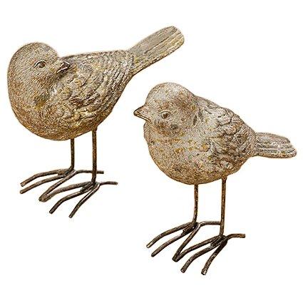 Lot de 2 ornements en forme d'oiseaux - couleur: marron clair - H environ 11cm
