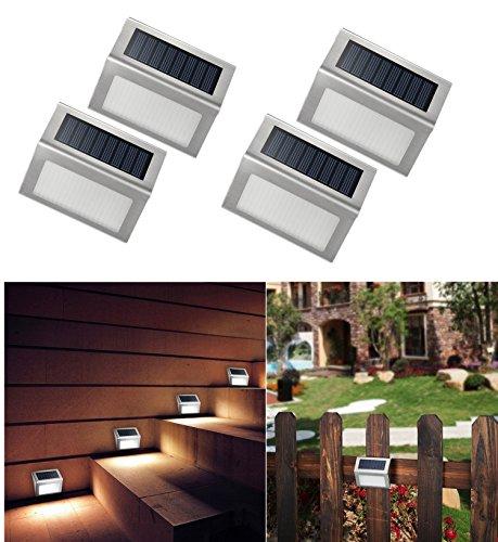 4 X Luci Solari Faretti Segna Passo Luci Segnapasso , Wireless Impermeabili 3LED Lampada Solare in Acciaio Inox per Scale, Sentiero, Recinzione,Terrazzino ecc di NORDSD