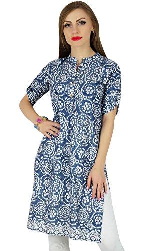 Bimba Frauen blau Baumwolltunika ethinc Sommer Kurta Kurti lässig Tag Bluse (Shirt Bluse Kurta)