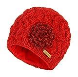 McRon Wollmütze Ariell rot für Damen Beanie warme Strickmütze Wintermütze mit weichem Fleece gefüttert