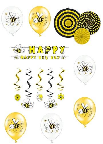 Unbekannt 15 Teiliges Partyset Kindergeburtstag Honigbiene Geburtstags Dekoset 6 Ballons 3 Rosetten 1 Papiergirlande 5 Spiralgirlanden Maja Schwarz Gelb Mädchen