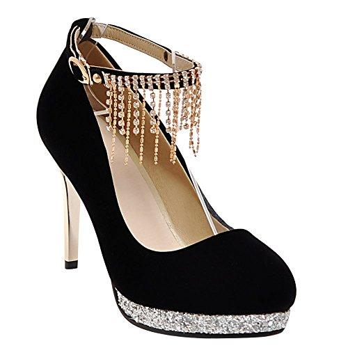 Mee Shoes Damen high heels ankle strap Quaste Pumps Schwarz