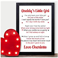 Daddys Little Girl PERSONALISED Valentines Day, Birthday or Christmas Gifts for Daddy - Custom Presents from Baby Girl or Daughter for Daddy, Dad, Father - Daddy Poem Verse Keepsakes from Daughter