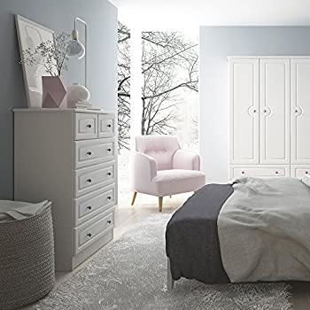 Furniture To Go Hampshire 2 Plus 4 Chest of Drawers, Wood White, 76.5x109x41.4 cm