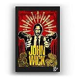 Keanu Reeves du Film John Wick - Illustration Originale Encadrée, Pop-Art Peinture, Presse Artistique, Poster, Toile Imprimée, Image sur Toile, Affiche d'art, Affiche de Film, Comics