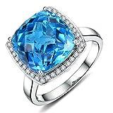 Selten8.35ct natürlich Swiss Blau Topas Diamants of 20.8 Punkte Edelstein Hochzeit Verlobungsringe 14K (585) Weißgold Necklace Pendant Rings für Damen