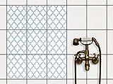 creatisto Fliesen-Muster | Dekorations-Fliesensticker Küchenfliesen Bad-Folie Küchengestaltung | 20x25 cm Muster Ornament Retro Pattern - Blau - 9 Stück