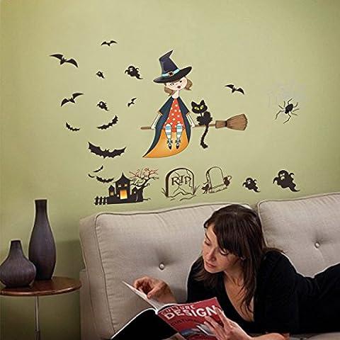 TERMV Halloween Niedlich Hexe Horror Geist Schloss Wandaufkleber Geschnitzt Wohnzimmer Schlafzimmer Fenster Glas Kreativ Aufkleber Abnehmbar Dekorative Aufkleber 30 * 90 Cm * 2