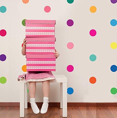 Pegatinas para arte en pared multicolores, juego de adhesivos de confeti a lunares, vinilo, Multicolor, 100 spots each at 10cm wide