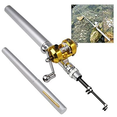 Accessotech Mini Silver Pocket Fishing Rod Pole & Golden Reel Pen Shape 93cm Travel Small from Accessotech