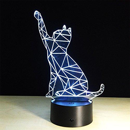 ATD® Gato Que Agita 3D Ilusión Colorido LED noche del tacto de la ta