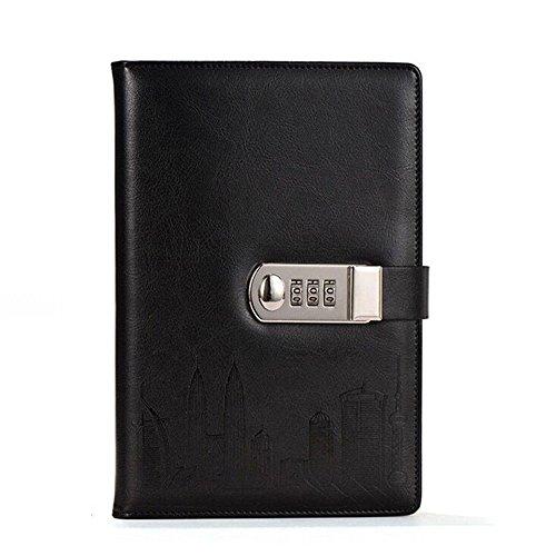 toim PU Leder Tagebuch Schreiben Notebook Fashion Tägliche Notizblock mit Zahlenschloss und...