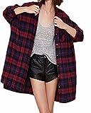 ZANZEA Femmes Boutons Plaid Chemise carreaux manches longues Hauts Baggy Cardigan Blouse Shirt EU 36-52 Rouge EU 44/ US 12 UK 16
