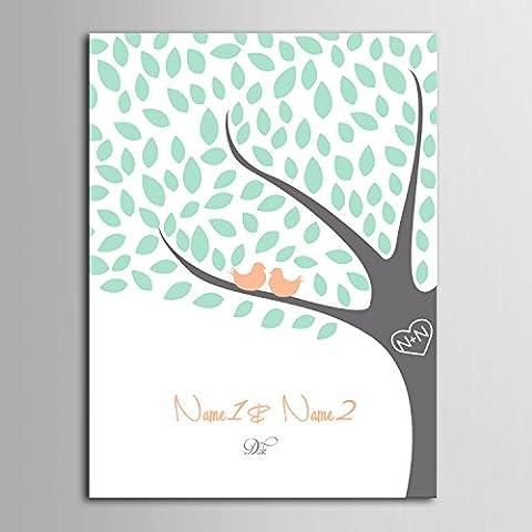 Takalao Personalizzato firma tela invisibile cornice stampa - Guest Book firma - uccelli sull'albero , Standard , 50*70
