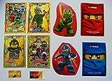 Lego Ninjago Serie 3 - 4 limitierte Gold Karten Trading Cards LE 9 Heldenhafte Hurami, LE 10 Spinjitzu Meister Team, LE 11 Garmadons Motorrad Gang, LE 17 Gemeiner Böser Skip + 1 Ninjago Schútzhülle