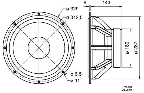 Visaton TIW 300-Lautsprecher (schwarz, 329x 329x 149mm, 25-4000Hz, Monitor 890MK III Vox 301Sub t-30.60tl-sub 30Atlas Compact MK V)