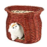 GOTOTOP Wicker Pet Bed Basket, 2 Layers Wicker Cat Bed Basket Pet Dog Sleeping House with Soft Cushion