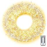 Ollny Guirlande lumineuse à 800 LED IP44 avec télécommande et minuteur 8 modes pour Noël, fête, anniversaire, mariage, salon, chambre d'enfant Blanc chaud 100 m