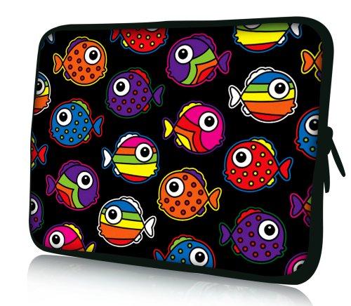 Luxburg® Design Tasche Hülle Sleeve Schutzhülle für Tablet PC 8 Zoll: Apple iPad mini (auch Retina) | Samsung Galaxy Tab 3 (8 Zoll) / Note 8.0 | Intenso TAB814 (8 Zoll) | Asus MeMO Pad 8 | Odys Titan (8 Zoll) | Lenovo IdeaPad Yoga (8 Zoll) | Acer Iconia W3 (8 Zoll) , Motiv: bunte Fische