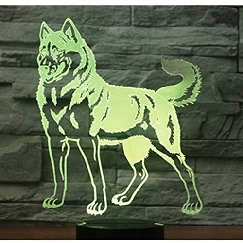 LLZGPZXYD 3D LED Veilleuse Chien Husky avec 7 Couleurs Lumineuses pour La Décoration De La Maison Lampe Incroyable Visualisation Optique Illusionme