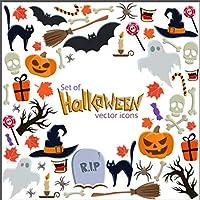 Kesoto 8 Hojas de Halloween Pegatinas de Ventanas y Escaparate Pegatinas en Forma de Calabaza, Gato, Murciélago y Fantasmas Pegatinas de Decoración para Halloween