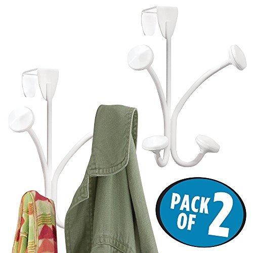 mDesign 2er-Set Türgarderobe – Metallgarderobe zum Hängen über die Tür – mit je 2 Doppelhaken für Mäntel, Jacken, Hüte, Handtücher in Flur und Bad – hochwertige Flurgarderobe – weiß