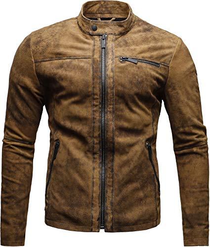 CRONE Epic Herren Lederjacke Cleane Leichte Basic Jacke aus weichem Schafs-Leder (XL, Vintage Braun (Wildleder)) - 4