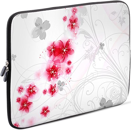 Sidorenko Laptop Tasche für 17-17,3 Zoll | Universal Notebooktasche Schutzhülle | Laptoptasche aus Neopren, PC Computer Hülle Sleeve Case Etui, Rosa/Weiß