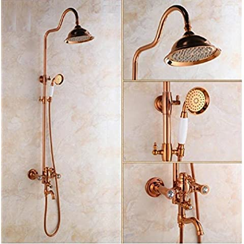 modylee tutti Bronzo Oro Diamante continentale doccia grande set doccia rubinetto, ritratto di famiglia