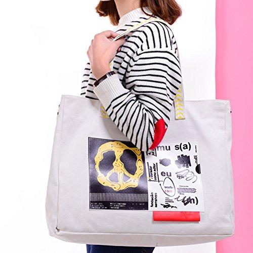 Young & Ming - Grande Donna Female Shopping bag Totes Borse a spalla Handbag Borsa a Mano con licona di moda Priting per Shopping / viaggio / lavoro bianca