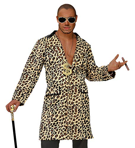 Widmann Casanova Hustler Zuhälter Rapper Mantel Leopardenmuster (Leopard, M / - Zuhälter Kostüm
